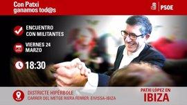 Patxi López visitará Ibiza este viernes para explicar su proyecto a los afiliados de la Isla