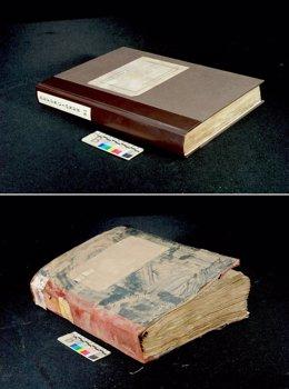 Arriba, un libro de registro de defunciones ya recuperado; abajo, como quedó.