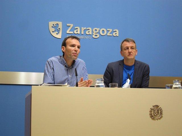 Pablo Muñoz y Fernando Rivarés, este viernes en rueda de prensa en Ayuntamiento