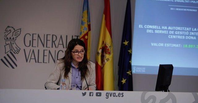 Mónica Oltra en la rueda de prensa del pleno del Consell