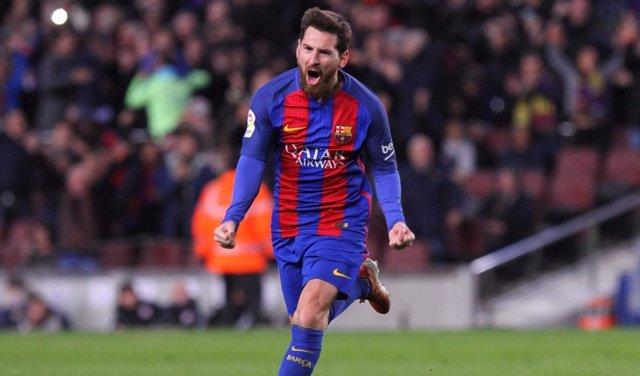 Leo Messi celebra un gol en Copa del Rey