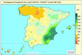 Las lluvias en España arrastran un déficit del 7% y en Valencia y Alicante duplican los valores normales
