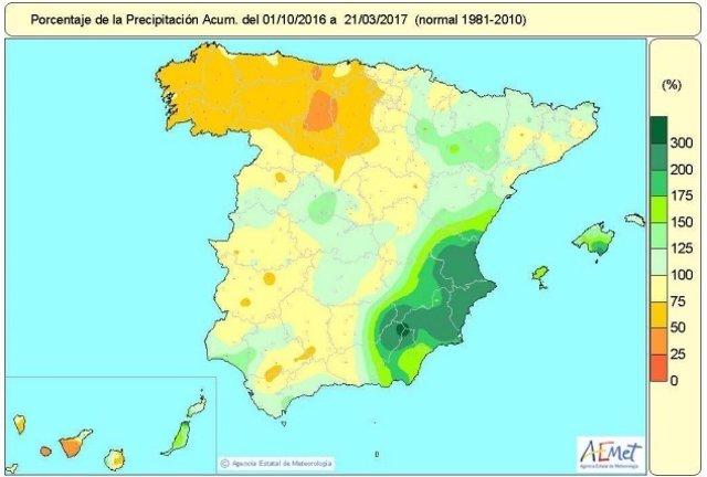 Distribución de las lluvias acumuladas en el año  hidrológico hasta el 21-3-2017