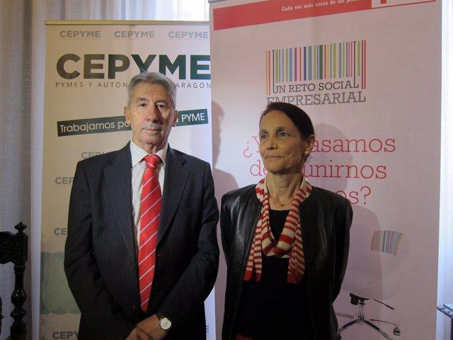 Aurelio López de Hita y Pilar Cintora, este viernes en Cruz Roja