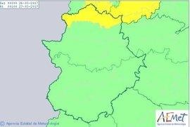 El norte de la provincia de Cáceres permanecerá este domingo en aviso amarillo por lluvias
