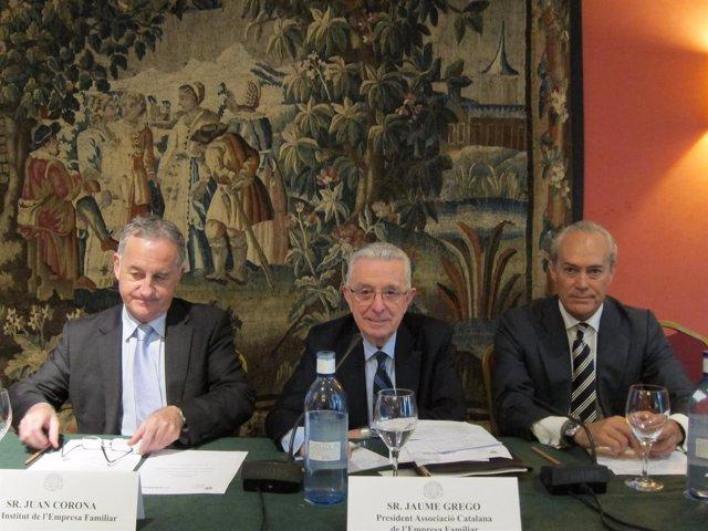 J.Corona (IEF), Francisco Gómez-Trenor (Mirabaud) y Jaume Grego (ASCEF)