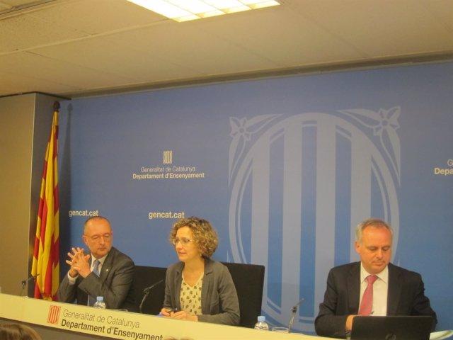 J.Miró, Meritxell Ruiz Y L.Baulenas, En Rueda De Prensa De Preinscripción