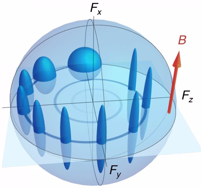 Evolución de un espín y su incertidumbre orbitando en un campo magnético