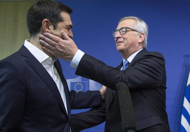 Greek Prime Minister Tsipras is welcomed by European Commission President Juncke