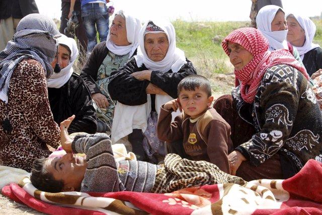 Miembros de la minoría yazidí liberados tras su secuestro por Estado Islámico