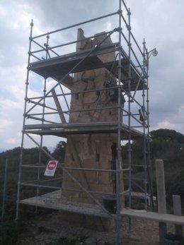 Obras restauración torre enfilación finca pública Son Real