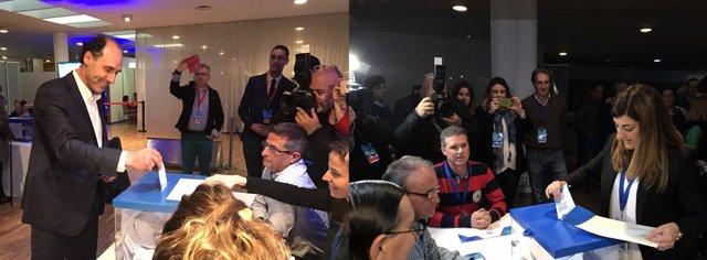 Diego y Buruaga votando en el Congreso Regional del PP