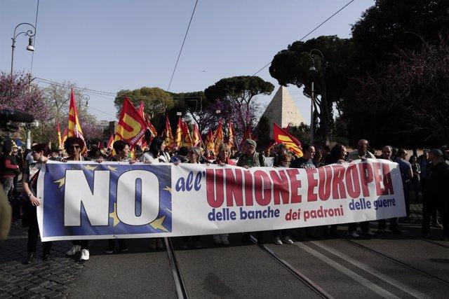 Manifestación contra la cumbre de la UE en Roma