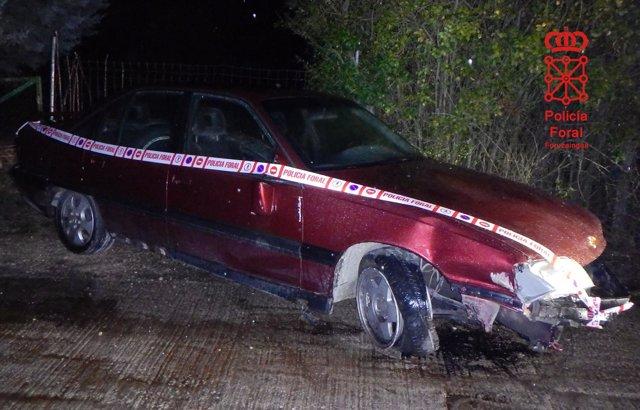 Estado del vehículo accidentado encontrado en el polígono de Tajonar