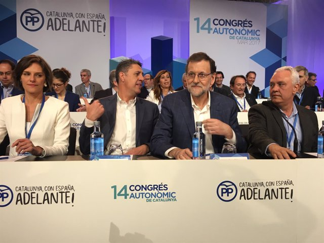 Esperanza García, Xavier García Albiol, Mariano Rajoy y Santi Rodríguez (PP)