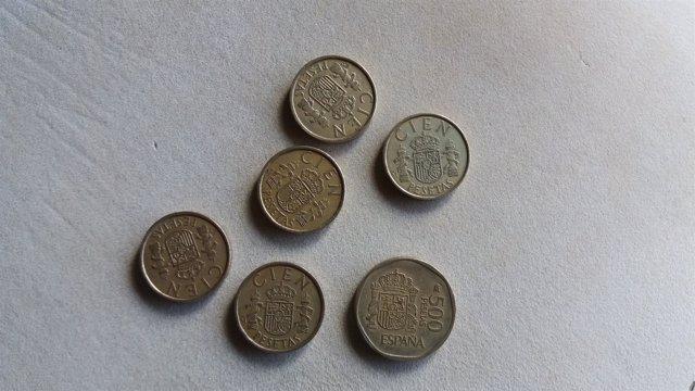 Pesetas, monedas antiguas, monedas de cien, monedas de quinientas