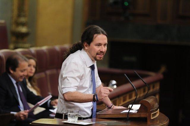 Pablo Iglesias en el debate en el Congreso sobre el Consejo Europeo