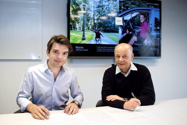 Nederland, Amsterdam, 20170315Pierre-Dimitri Gore-Coty (head of Uber EMEA, left