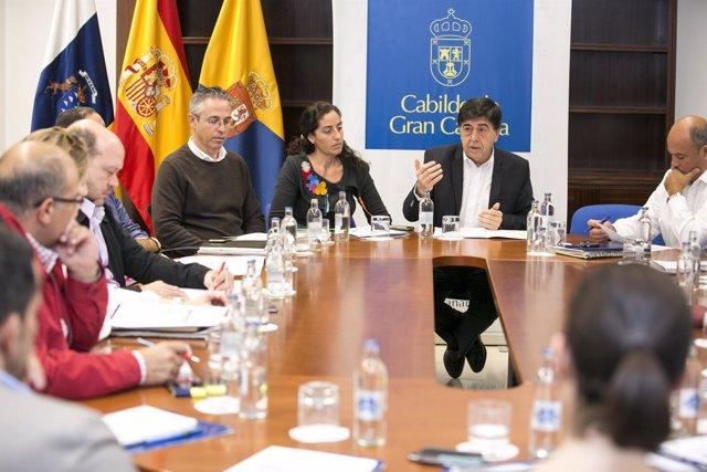 Hablando el consejero de Empleo del Cabildo de Gran Canaria, Gilberto Díaz