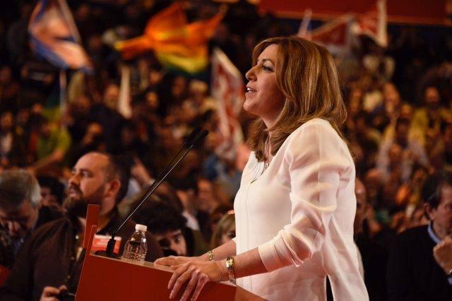 Susana Díaz durante la presentación oficial de su candidatura a liderar el PSOE