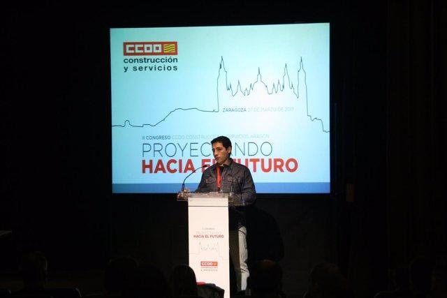 Pablo Urmeneta este lunes en el Congreso de la Federación de Construcción CCOO.