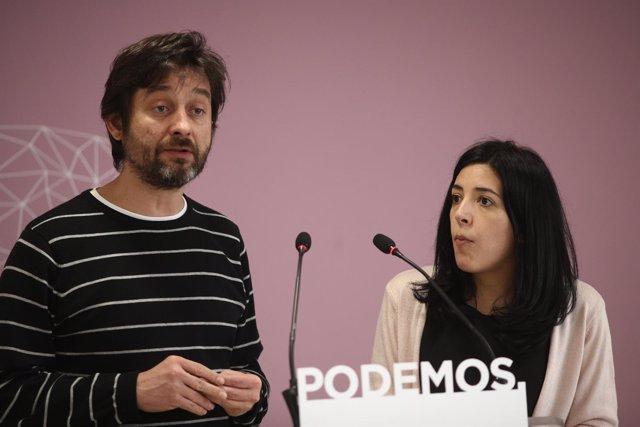 Rueda de prensa de Idoia Villanueva y Rafael Mayoral en la sede de Podemos