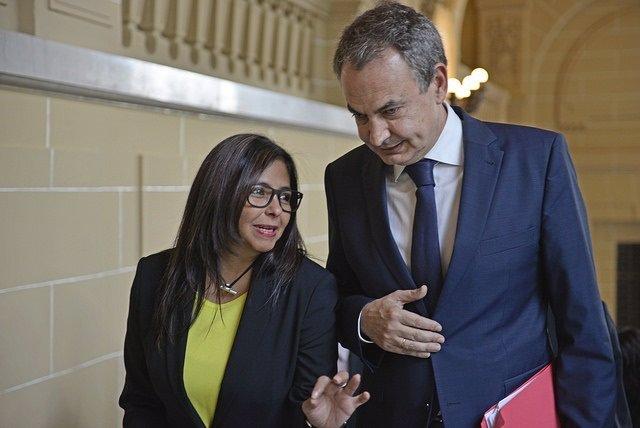 Zapatero y la ministra de Exteriores de Venezuela, Delcy Rodríguez