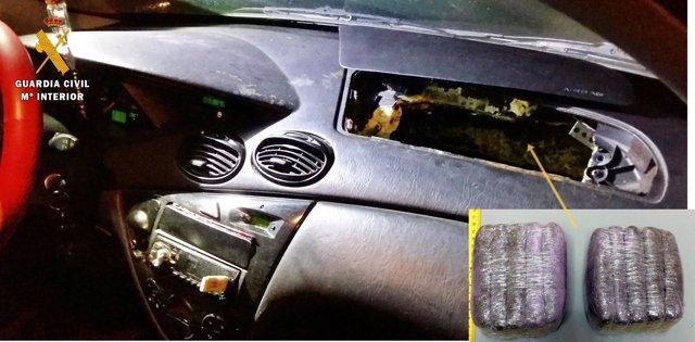 La Guardia Civil Interviene Un Kilo De Droga Oculta En El Airbag Del Vehículo