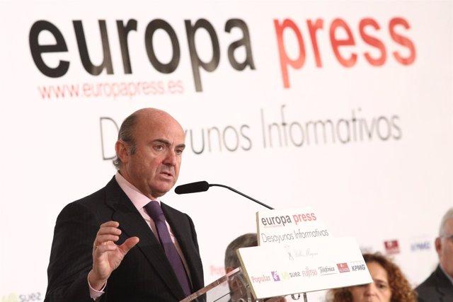 Luis de Guindos protagoniza un Desayuno Informativo de Europa Press