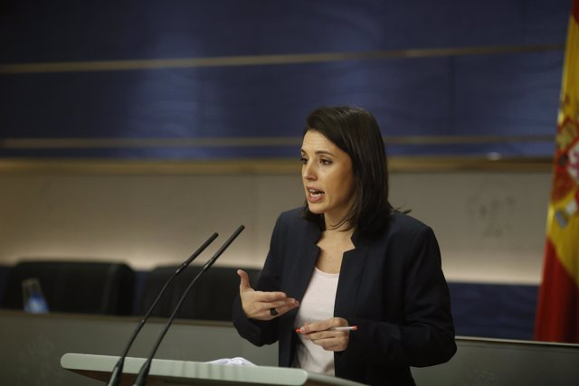 Irene Montero en rueda de prensa en el Congreso