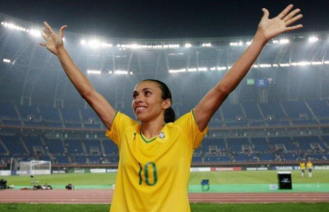 Marta Vieira con la selección de Brasil