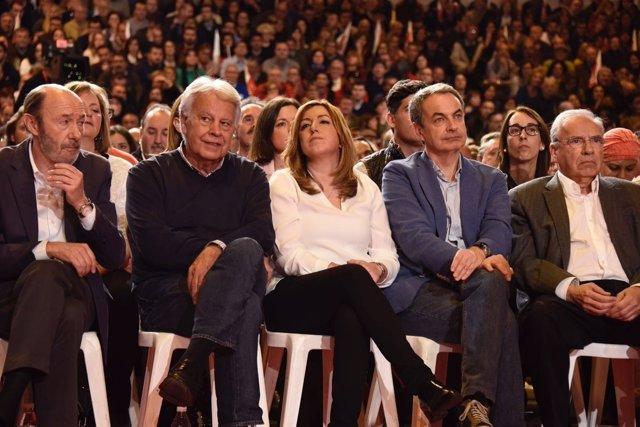Rubalcaba, Felipe Gozález, Susana Díaz, Zapatero y Guerra