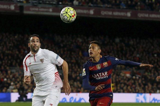 Neymar y Rami en un Barça-Sevilla