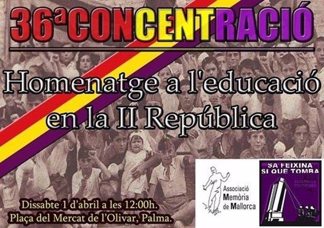 Cartel del homenaje a la educación en la II República