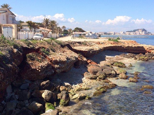 Imagen del desprendimiento en la playa de Les Rotes de Dénia