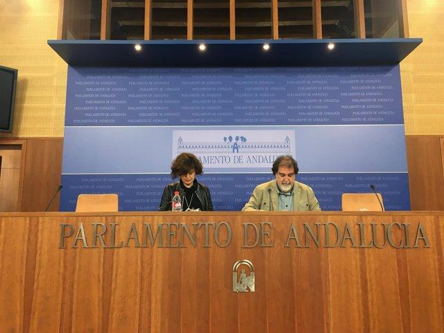 Diputados de Podemos Esperanza Gómez y Jesús Romero en rueda de prensa
