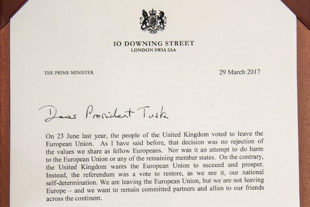 Carta de notificación de Reino Unido del Brexit