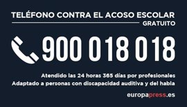Educación detecta 5.024 posibles casos de acoso escolar en cinco meses a través de su teléfono 900 018 018