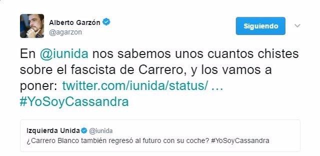 Imagen del tweet de Alberto Garzón sobre Carrero Blanco