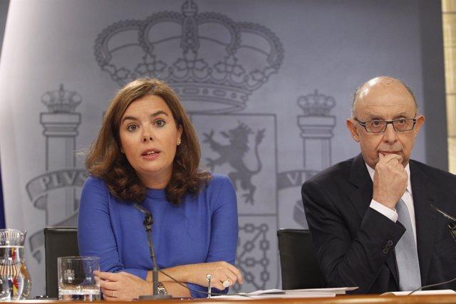 Soraya Santamaría y Cristóbal Montoro