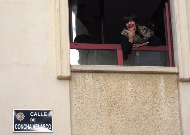 Concha Velasco, en la calle de Valladolid que lleva su nombre