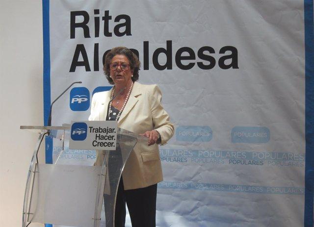 Rita Barberá durante la presentación de su programa electoral