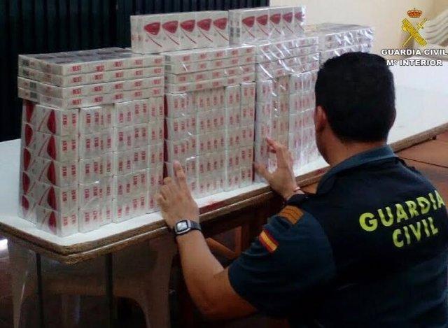 Tabaco de contrabando incautado en Moguer (Huelva).
