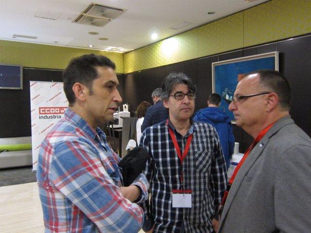 Gonzalo Díez, en el centro, en el marco del Congreso de CCOO de Industria