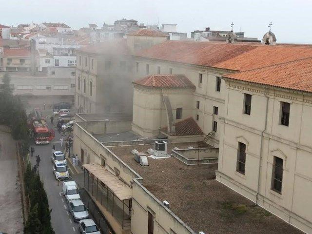 Incendio en el hospital Virgen de la Montaña de Cáceres