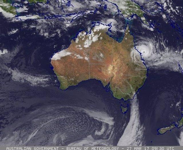 Imagen satelital de la llegada del ciclón 'Debbie' a Australia