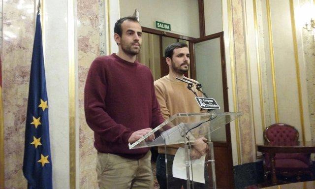 Miguel Ángel Bustamante y Alberto Garzón, diputados de IU