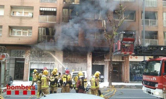 Incendio en la calle Baró de Maials de Lleida