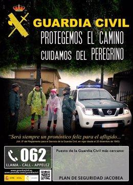 Cartel anunciador de los servicios de la Benemérita en la Ruta Jacobea.