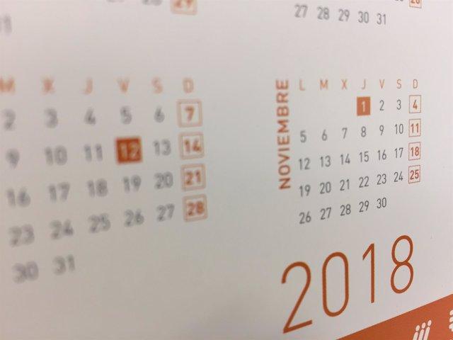 Calendario de 2018